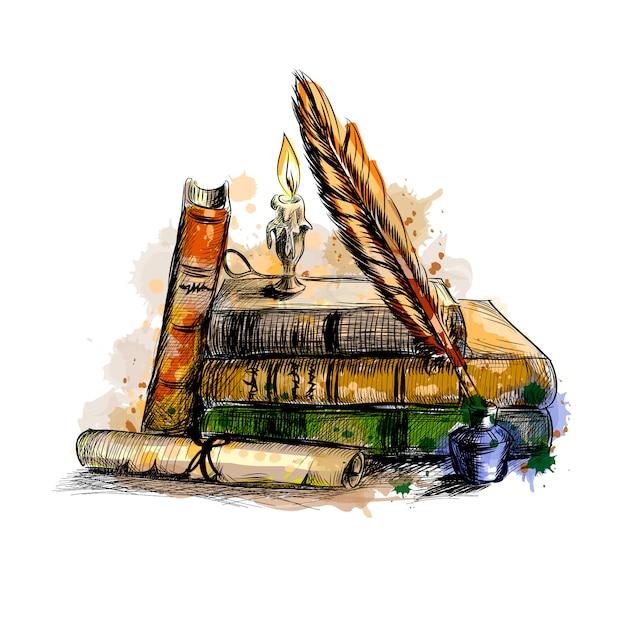 書籍、スクロール、ペン、キャンドルのスタック Premiumベクター