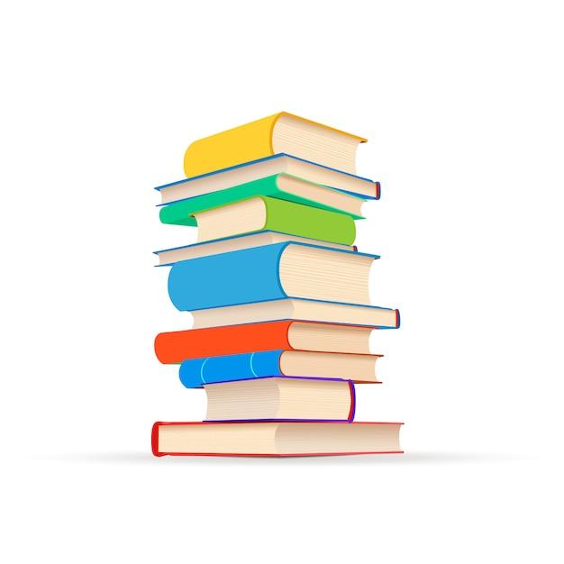 Стек различных красочных учебников, изолированных на белом Premium векторы
