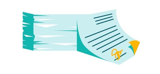 Стек бумажных документов и подписание соглашения с печатью, векторные иллюстрации шаржа, изолированные на белом Бесплатные векторы
