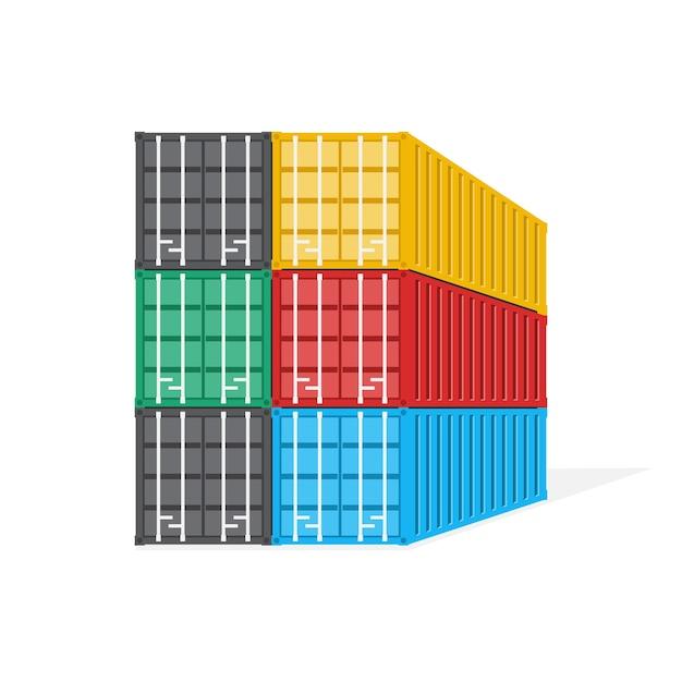Стек контейнера, концепция логистики и транспортировки, иллюстрации. Premium векторы