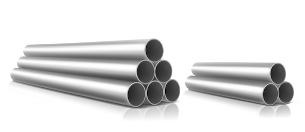 Stack of steel pipes isolated Free Vector
