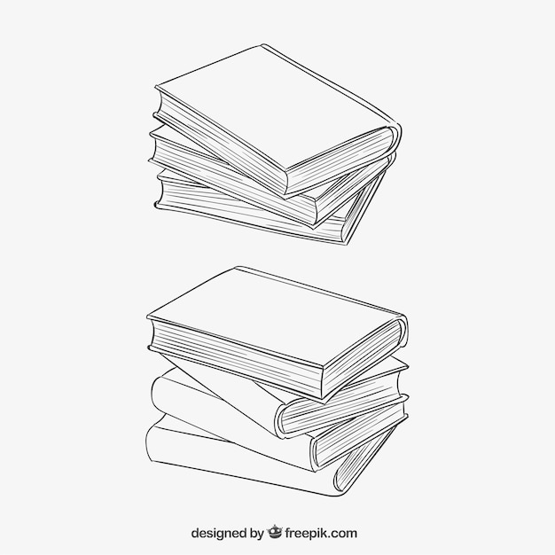 Stacked books in sketchy style Vector   Free Download