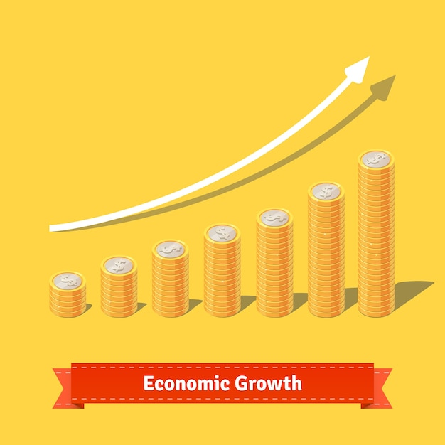 Stacked coins growth chart. rising revenue concept Free Vector