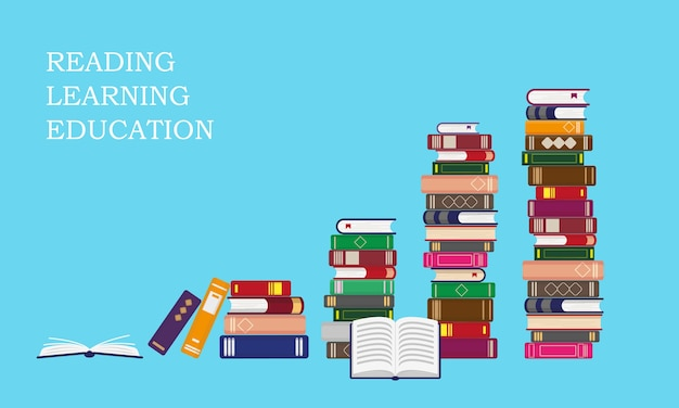 Stacks of books on blue background. reading, education or sales concept.  illustration. Premium Vector