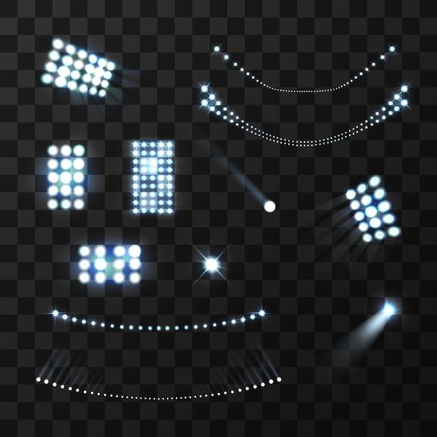 Синие огни стадиона и реалистичный набор ламп Бесплатные векторы