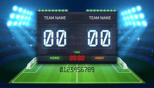 Stadium electronic sports scoreboard with soccer time and football match result display Premium Vector