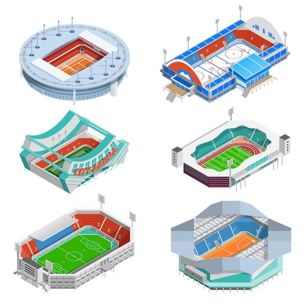 Stadium icons set Free Vector