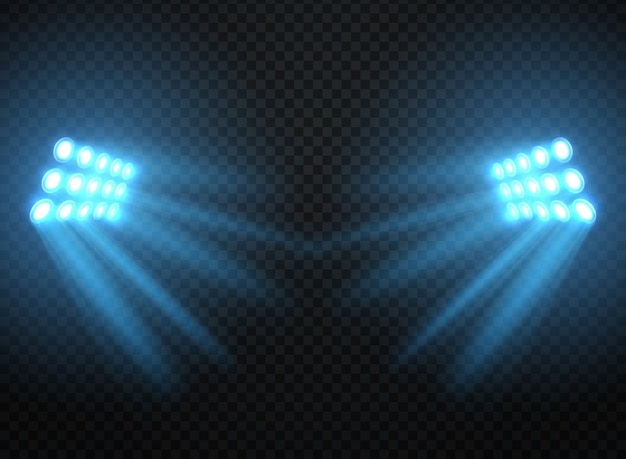 Stadium lights, shiny projectors isolated. vector spotlight template Premium Vector