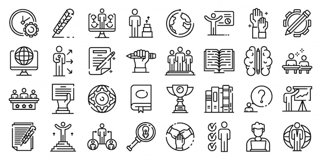 Staff education icons set, outline style Premium Vector