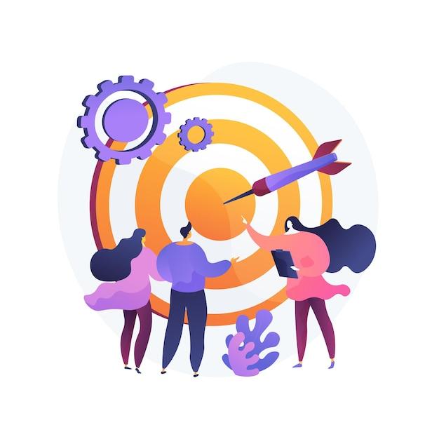Gestione del personale, definizione della prospettiva, orientamento al target. organizzazione del lavoro di squadra. personaggi dei cartoni animati di coach aziendale, dirigente aziendale e personale. illustrazione della metafora del concetto isolato di vettore. Vettore gratuito