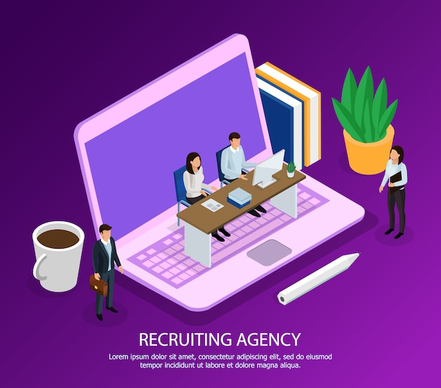 Staff of recruiting agency with computer and candidates for employment isometric composition on purple Free Vector