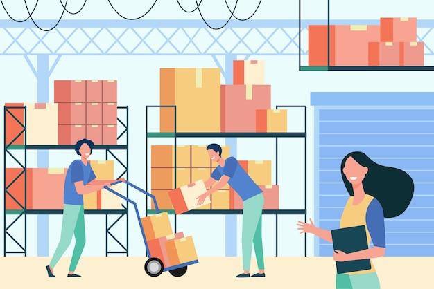 Персонал, работающий в логистическом хранилище, изолировал плоскую векторную иллюстрацию. мультяшные рабочие и грузчики берут ящики с грузового поддона на складе. служба доставки и концепция интерьера склада Бесплатные векторы