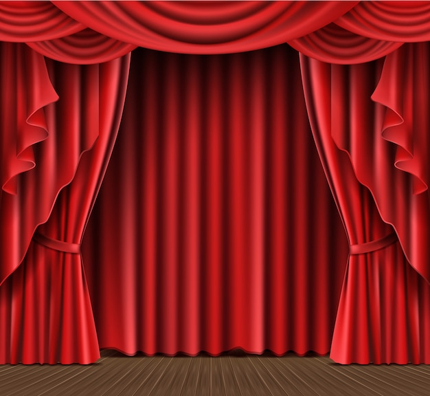 Stage curtain realistic Free Vector