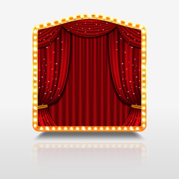 Stage curtain in shining banner with golden frame illustration Premium Vector