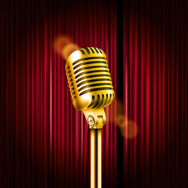 Stage curtains with shining microphone Premium Vector
