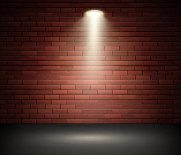 벽돌 벽에 스포트 라이트로 조명 무대 프리미엄 벡터