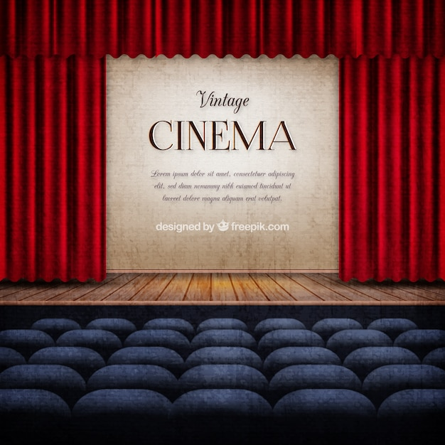 Stage In Vintage Cinema Background Premium Vector