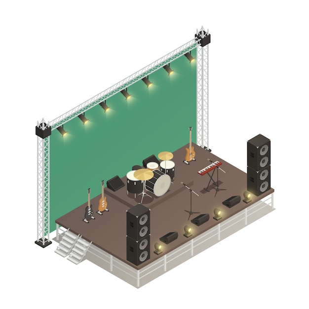 Stage isometric vector illustration Free Vector