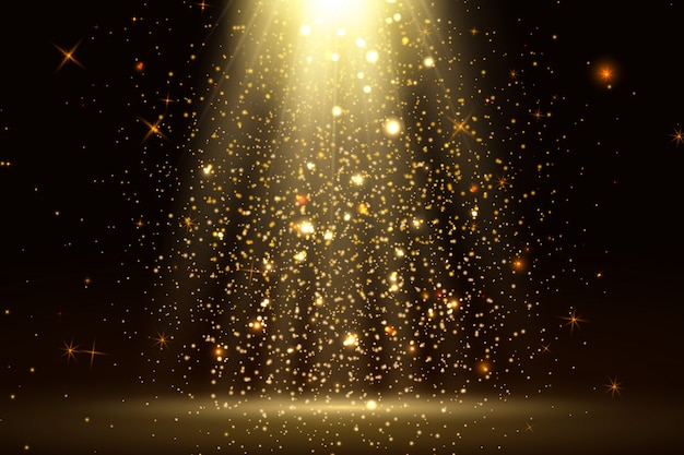Stage light and golden glitter lights effect with gold rays, beams and falling glittering dust on floor. abstract gold background for display your product. shiny spotlight or stage. Premium Vector