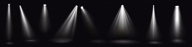 Сценическое освещение, белые лучи прожекторов, светящиеся элементы дизайна для интерьера студии или театра Бесплатные векторы