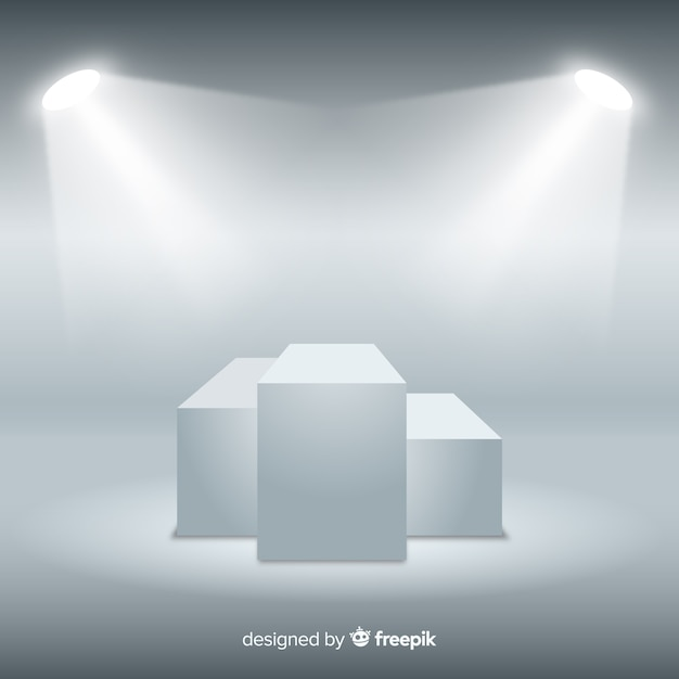 Stage podium background in white room with lighting Free Vector