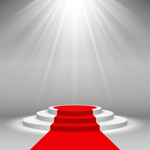 Stage podium illuminated scene spotlight with red carpet Premium Vector