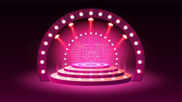 Stage podium with lighting Premium Vector