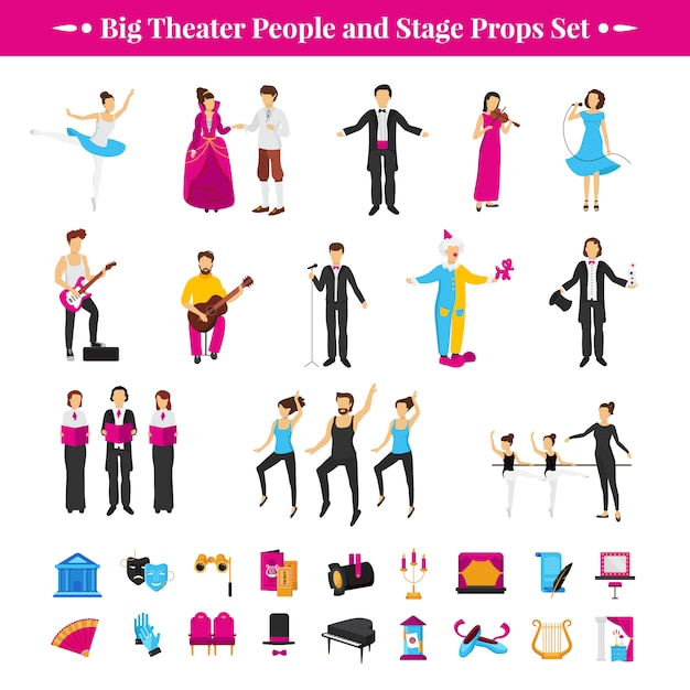 Stage props set with actors dancers and musicians Free Vector