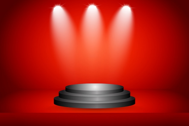 Stage on red background Premium Vector