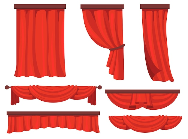 Stage red curtains flat set for web design. cartoon fabric drapery in movie or opera vector illustration collection. window drapery and decoration concept Free Vector