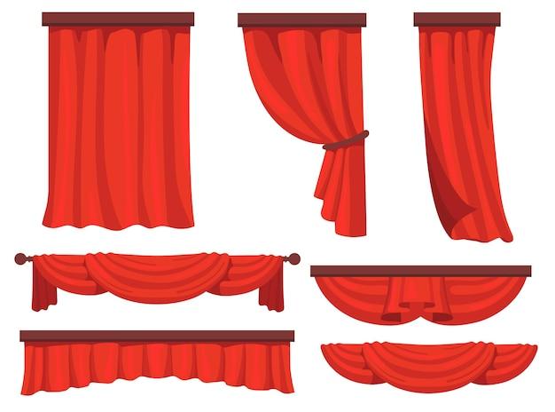 Set piatto di tende rosse per il web design. tendaggi in tessuto di cartone animato nella raccolta di illustrazione vettoriale di film o opera. tendaggi della finestra e concetto di decorazione Vettore gratuito