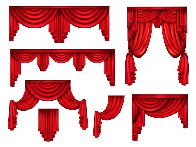 Stage red curtains, victorian silk drapes with crinkles Free Vector