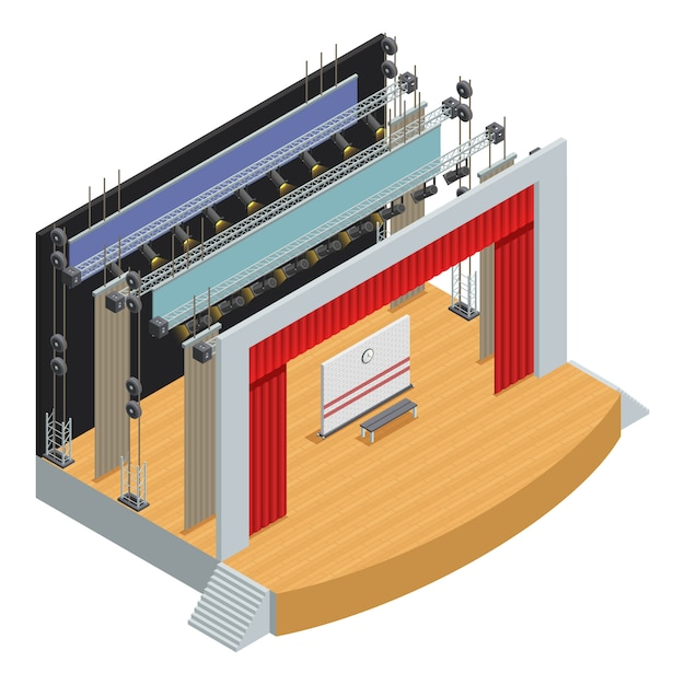 Stage for theater scenes with scenery decor elements and loop system for curtains Free Vector