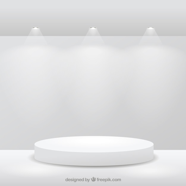Stage on white room Free Vector