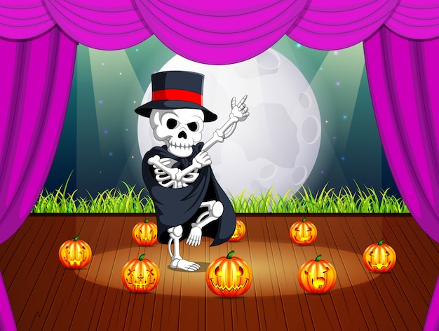 Stage with a halloween party with human skulls Premium Vector