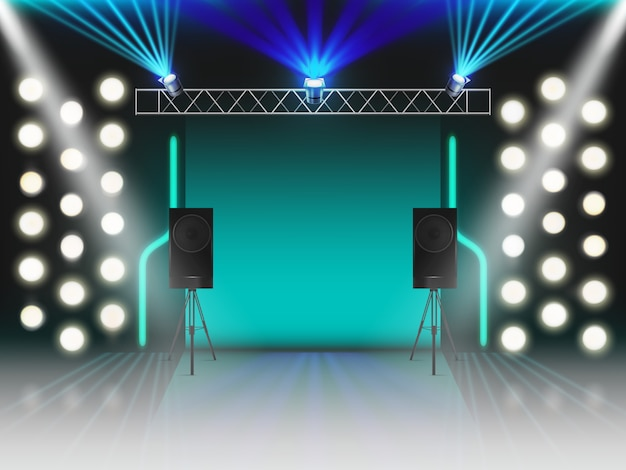 Stage with illumination and dynamics sound equipment. empty scene with glowing studio light effects, spotlights, laser neon rays, steel rack for lamps, loud speakers. 3d realistic vector illustration Free Vector