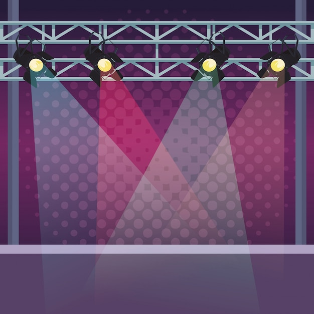 Stage with lights Premium Vector