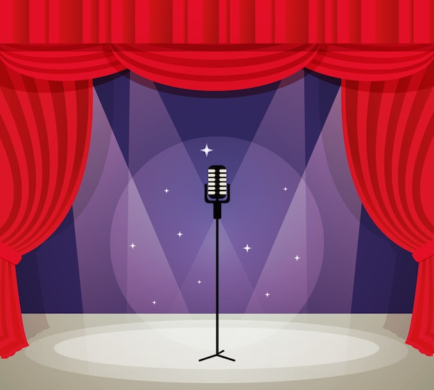 stage with microphone in spotlight with red curtain