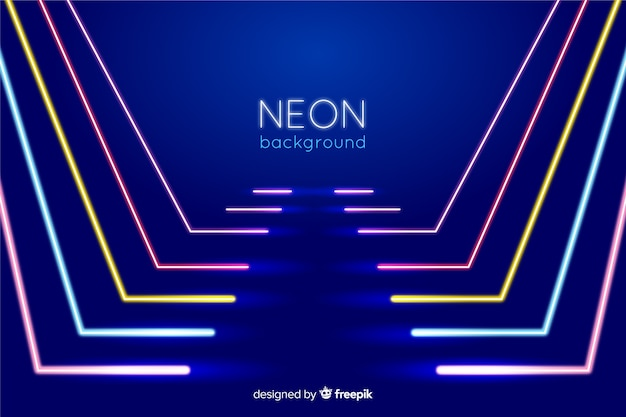 Stage with neon lights lines form Free Vector
