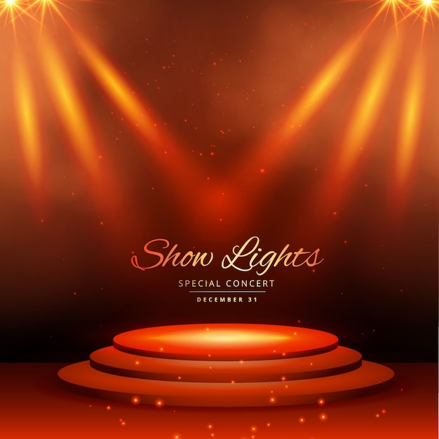 Theater Lights Background: Stage With Orange Lights Vector