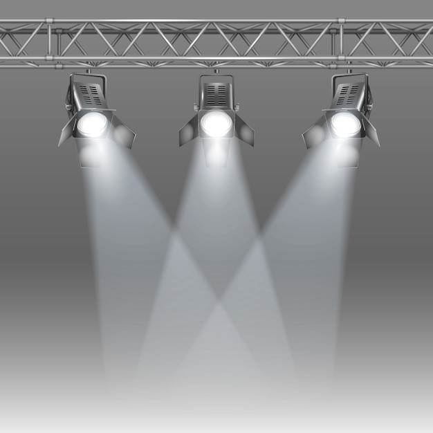 Stage with projectors Free Vector