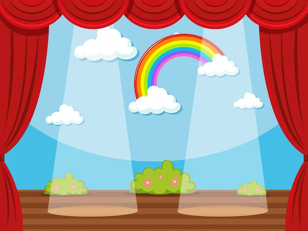 Stage with rainbow in backdrop Free Vector