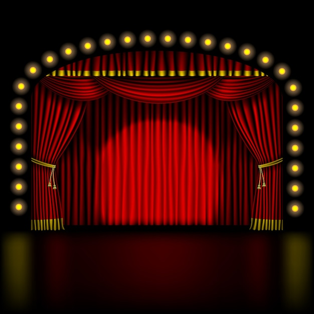 Stage with red curtain and lights Premium Vector