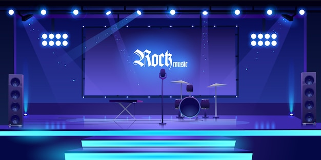 Stage with rock music instruments and equipment Free Vector