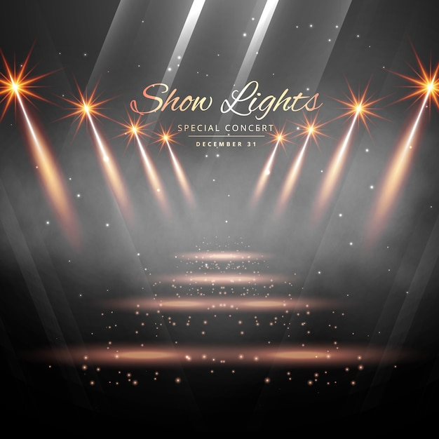 Theater Lights Background: Stage With Show Lights Vector