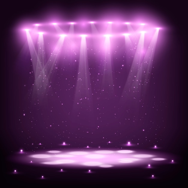 Stage with spotlights and spark rain. Premium Vector