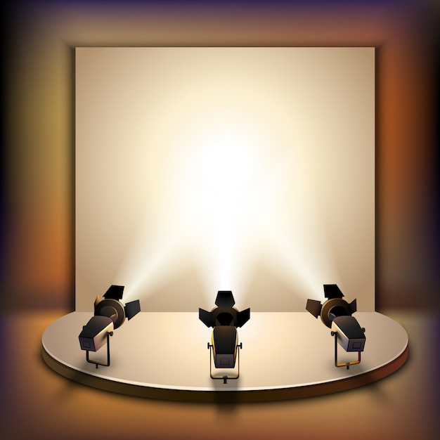 Stage with spotlights Free Vector