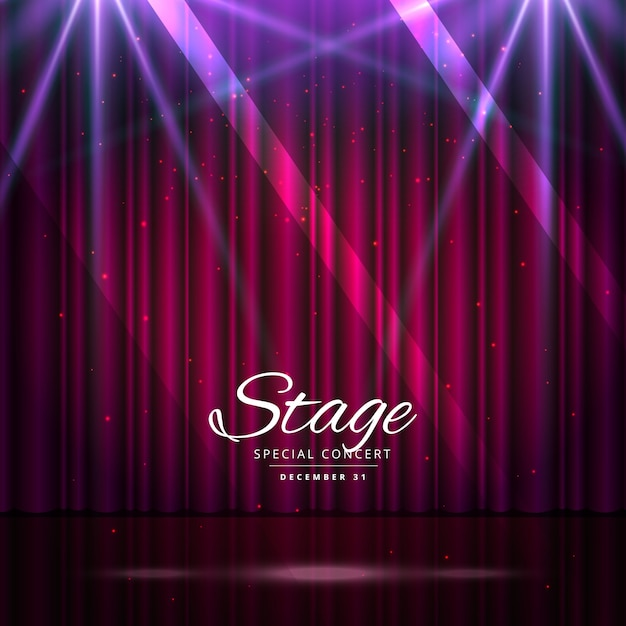 Stage with curtains and lights