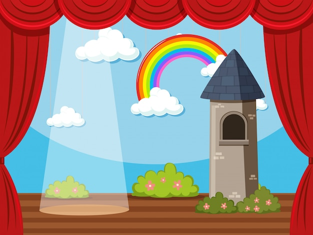 Stage with tower and rainbow Free Vector