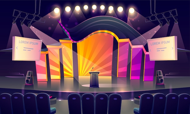 Stage with tribune, seats and spotlights Free Vector